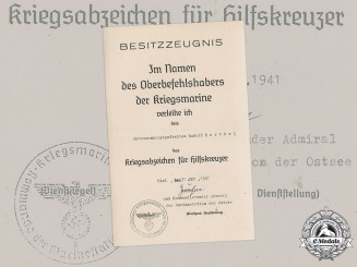 Germany, Kriegsmarine. An Award Document for an Auxiliary Cruiser Badge to Rudolf Barthel