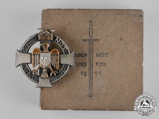 Germany, Imperial. A Durch Not Und Tod Patriotic Badge, by H. Steenaerts, with Case
