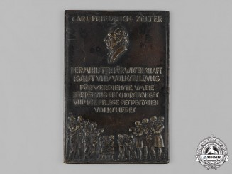 Germany, Weimar Republic. A Carl Friedrich Zelter Plaque