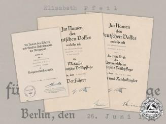 Germany, DRK. An Award Document Group to German Red Cross (DRK) Hilfsschwester Elisabeth Pfeil