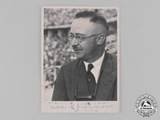 Germany, SS. A Photo of Reichsführer-SS Heinrich Himmler with Handwritten Inscription