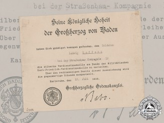 Baden, Grand Duchy. An Award Document for a Silver Merit Medal of the Military Karl Friedrich Merit Order