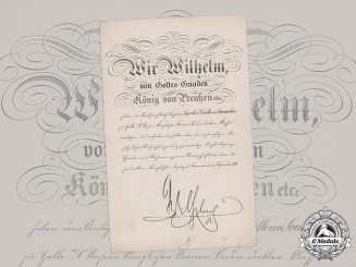 Prussia, Kingdom. An 1892 Crown Order Award Document, III Class, Signed by Kaiser Wilhelm II