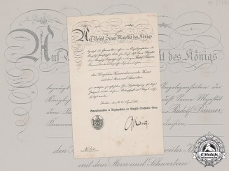 Prussia, State. An Award Certificate for an Order of the Crown, II Class with Star and Swords, to Generalmajor Rudolf Dänner