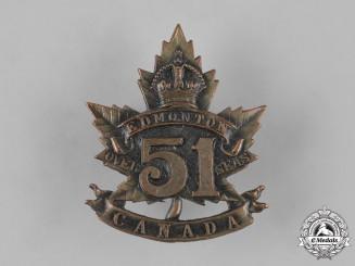 """Canada, CEF. A 51st Infantry Battalion """"Edmonton Regiment"""" Cap Badge, c.1915"""