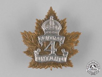 Canada, CEF. A 4th Infantry Battalion Cap Badge, c.1914
