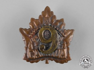 Canada, CEF. A 9th Infantry Battalion Cap Badge, Field-Made