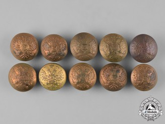 Russia, Imperial. A Lot of Ten Russian Army Uniform Buttons, c.1916