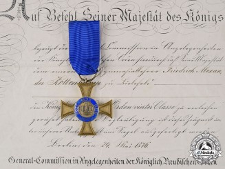Prussia, Kingdom. A Crown order, IV Class to Friedrich Alexander Kottenkamp, by Hermann Julius Wilm