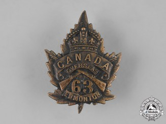 Canada, CEF. A 63rd Infantry Battalion Cap Badge, c.1915