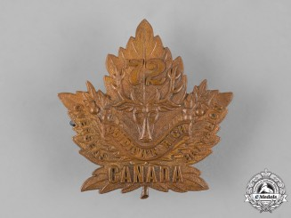 "Canada, CEF. A 72nd Infantry Battalion ""Seaforth Highlanders"" Cap Badge, c.1915"