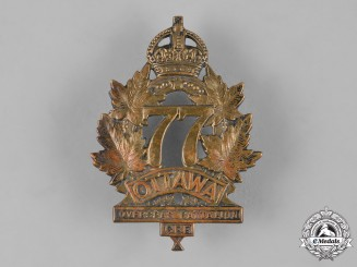 "Canada, CEF. A 77th Infantry Battalion ""Ottawa Battalion"" Cap Badge, Tiptaft, c.1915"