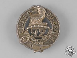 "Canada, CEF. A 92nd Infantry Battalion ""48th Highlanders"" Glengarry Badge, by Ellis Bros., c.1915"