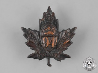 """Canada, CEF. A 94th Infantry Battalion """"New Ontario Battalion"""" Cap Badge, by Maybee's & Co., c.1915"""
