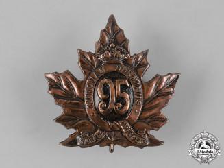 Canada, CEF. A 95th Infantry Battalion Cap Badge, by Ellis Bros, c.1915