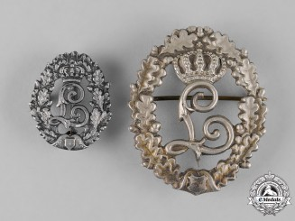 Bavaria, Kingdom. A Pair of King Ludwig II Commemorative Badges