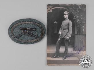 Germany, Kaiserliche Marine. A Navy Machine Gun Specialist Sleeve Badge Belonging to Heinz Petersen