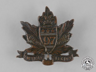 """Canada, CEF. A 97th Infantry Battalion """"Toronto Americans"""" Cap Badge, by G.H.Lee, c.1915"""