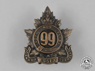 "Canada, CEF. A 99th Infantry Battalion ""Essex Battalion"" Cap Badge, c.1915"