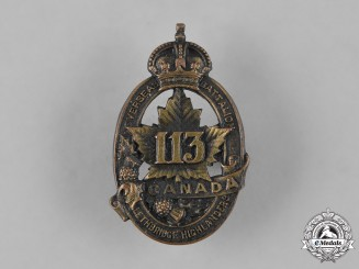 "Canada, CEF. A 113th Infantry Battalion ""Lethbridge Highlanders"" Cap Badge, c.1915"
