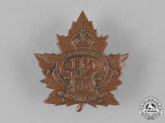 """Canada, CEF. A 115th Infantry Battalion """"New Brunswick Battalion"""" Cap Badge, c.1916"""