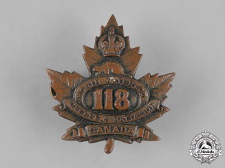 "Canada, CEF. A 118th Infantry Battalion ""North Waterloo Overseas Battalion"" Cap Badge"