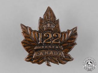 Canada, CEF. A 122nd Infantry Battalion Cap Badge, c.1916