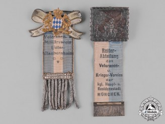 Bayern, Kingdom. A Pair of Bavarian Veterans Organization Membership Badges
