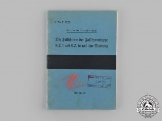 Germany, Luftwaffe. A 1941 Fallschirmjäger Parachute User's Manual Signed by Eugen Meindl & Ernst Blauensteiner