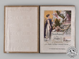 Germany, Imperial. A Large Congratulatory Document For 80th Birthday Of Otto Von Bismarck By German Actors Association