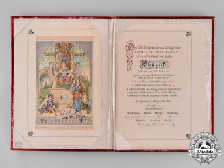 Germany, Imperial. A Presentation Document to Otto Von Bismarck, from Duchy Of Schwarzburg-Rudolstadt
