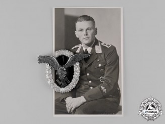 Germany, Luftwaffe. A Rare Pilot's Badge, Aluminum Version, with Photo