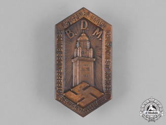 Germany, BDM. A 1933 League of German Girls (BDM) South-West Saxony Regional Meeting Badge by Gustav Brehmer