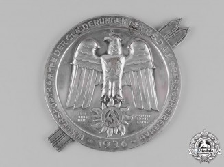 Germany, SA. 1936 Sturmabteilung Oberschreiberhau (SA) Winter Sports Games Table Medal Dedicated to Standartenführer Kuhn, by Carl Poellath