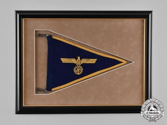 Germany, Kriegsmarine. A Framed Car Pennant