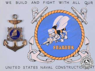 United States. A United States Naval Construction Battalions (Seabees) Pendant and Postcard