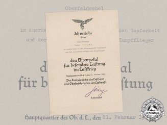 Germany, Luftwaffe. An Award Document for an Honour Goblet of the Luftwaffe to Oberfeldwebel Werner Borner