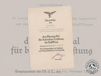 Germany, Luftwaffe. An Award Document for an Honour Goblet of the Luftwaffe to Oberfeldwebel Werner Borner