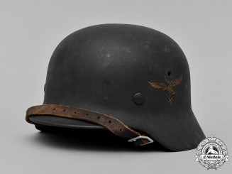 Germany, Luftwaffe. A Single-Decal Luftwaffe M42 Steel Helmet by Emaillierwerk Fulda