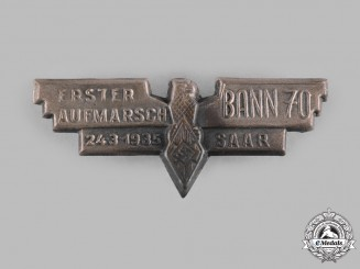 Germany, HJ. A 1935 Saar HJ Bann 70 Inaugural Deployment Badge
