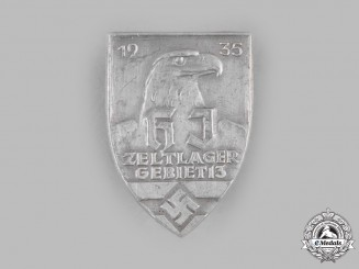 Germany, HJ. A 1935 HJ District 13 Camp Badge by E. Ferdinand Wiedmann
