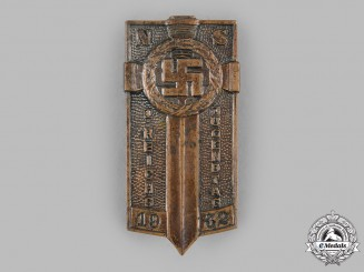 Germany, NSDAP. A 1932 National Socialist Day of the Youth Badge Spectator Badge by Ferdinand Hoffstätter