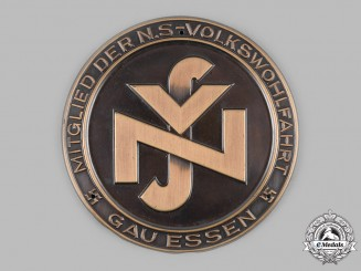 Germany, NSV. A National Socialist People's Welfare (NS-Volkswohlfahrt) Gau Essen Membership Plaque