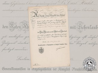 Prussia, State. A Red Eagle Order II Class with Oak Leaves Award Document to Privy Councillor Dr. Hecht, c.1914