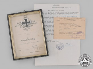 Germany, Heer. A 1939 Iron Cross, II Class, and Documents to Leutnant Karl Friedrich