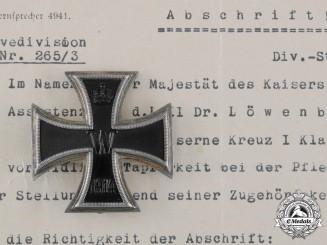 Germany, Imperial. A 1914 Iron Cross I Class to Assistenzarzt Löwenberg