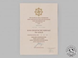 Germany, Luftwaffe. An Award Certificate for a German Cross in Gold to Oberfeldwebel Fritz Heyland, Signed by Reichsmarschall Hermann Göring