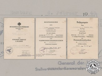 Germany, Heer. Three Award Documents To Infantry Obergefreiter Heinrich Grünhagen (EK2)