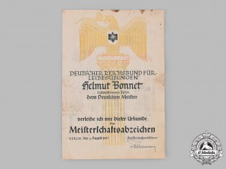Germany, DRL. A 1937 Award Certificate for a DRL Champions Badge