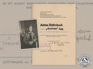 Germany, DJ. A Passing Of The Pimpfenprobe Document With Recipient's Photo, 1943